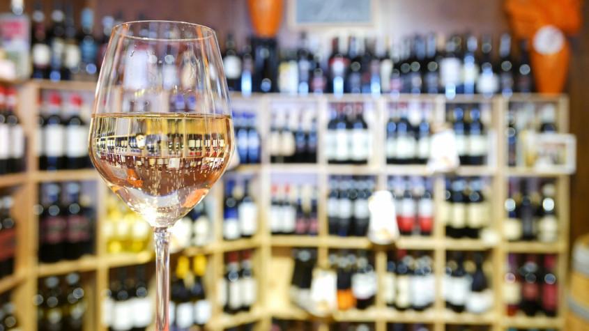 White wine glass in an Italian wine bar.