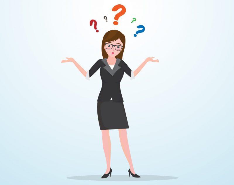 Imagem em vetor de uma mulher com dúvidas - Texto: Como escolher o melhor sistema para supermercado?